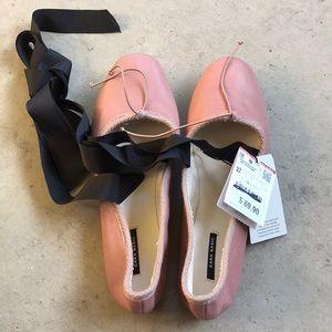Zara leather flat shoes